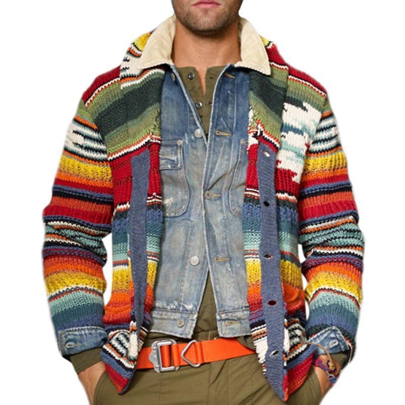 Мужской кардиган теплый рождественский свитер 2021 человек мода печать куртка повседневная стойка воротник вязаный цвет цвет