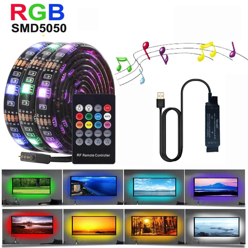 Lampe à bande de musique flexible de la bande USB LED de la bande de musique RGB avec le contrôleur pour le bureau TV Set complet de ceinture de lumière