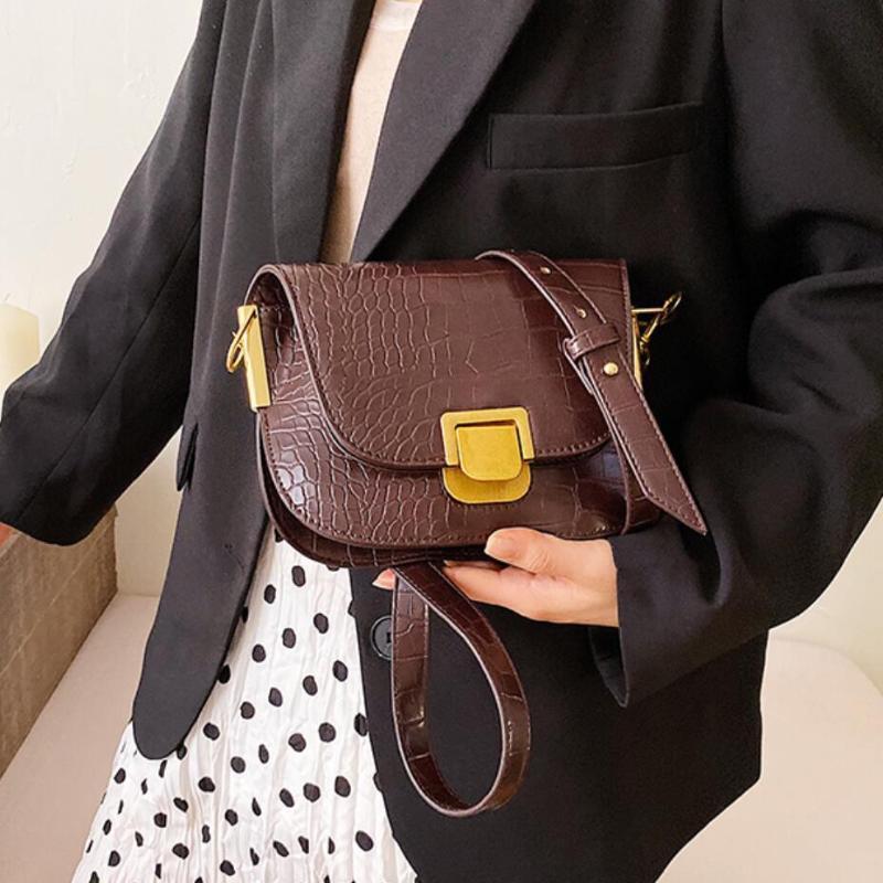 Sac à bandoulière Vintage 2020 Designer Haute motif Femme PU Nouveau cuir Lock de qualité Crocodile Messenger Sac à main MKWJG