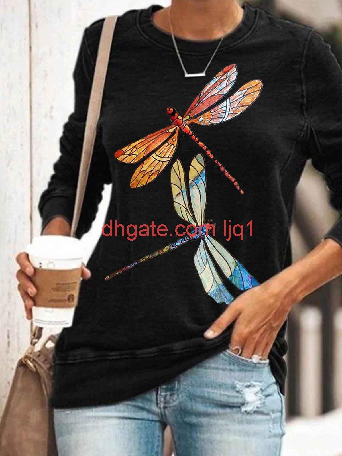 Rundhalsausschnitt Libelle Print Pullover Casual Langhülse T-Shirt Für Frauen Im Jahr 2020