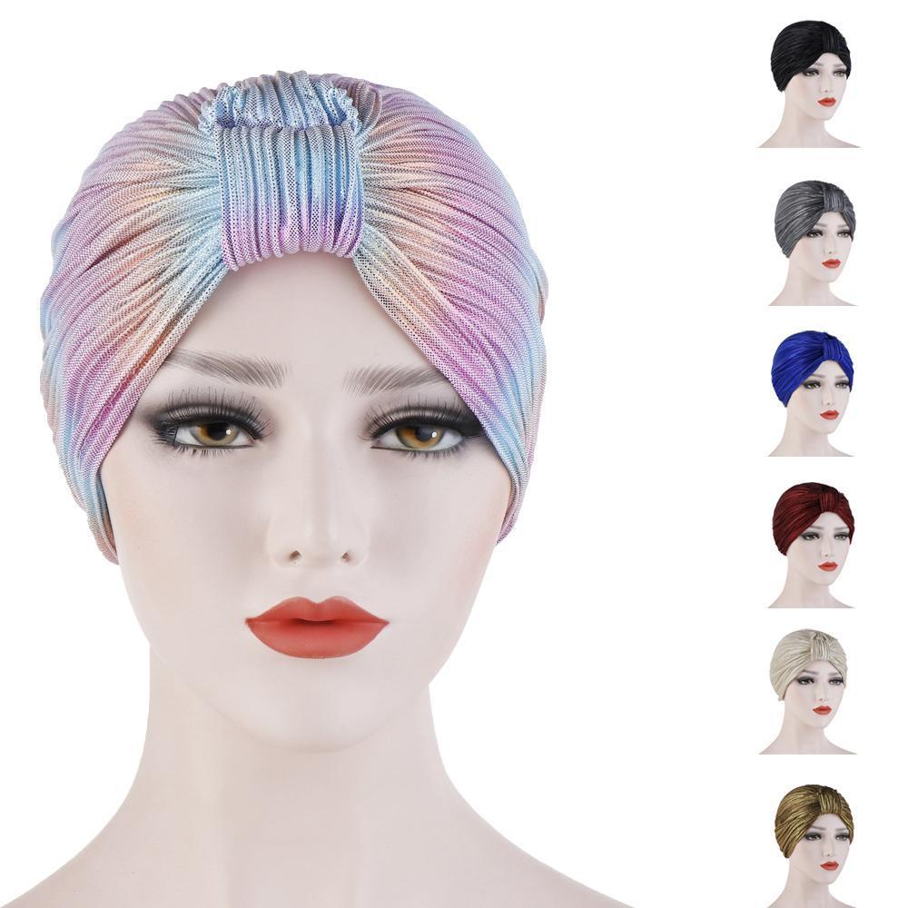 여성 항암 치료 캡 모자 내기 이슬람 터번 단색 비니 Skullies 여성들의 머리 수건 착용 랩 인도 모자 보닛 모자 이슬람 아랍 캡