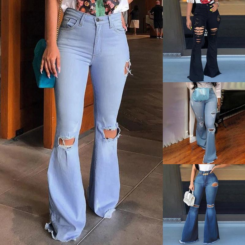Fashion Flare Jeans Pants Women Retro Ripped Jeans Wide Leg Denim Trousers Ladies Casual Bell-Bottoms Flare Pant Female 2020 Hot