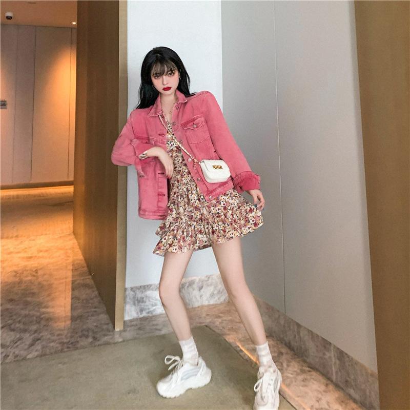 Розовые короткие джинсовые пальто женщины осени 2020 новый свободный и универсальный случайный маленький длинный верхний рукав