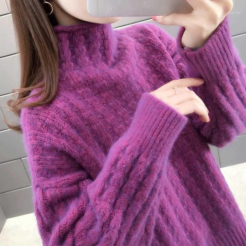 donne primavera inverno maglia maglione pullover Lady casual stile sciolto stile torta a collo alto manica lunga autunno top cappotto1