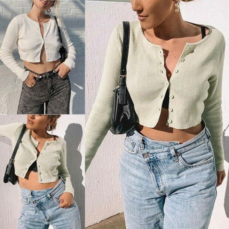 2020 Eté Automne mode coréenne de femmes sexy manches longues ouvert Bouton avant à tricoter Cardigan Crop Top chandails à e8Ud #