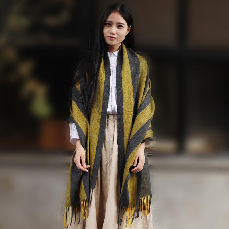 Luxury-2020 Европа и Америка-стрит теплые женские Stripe шарф осенью и зимой равнину шить Bib полоса галстук крашение теплый шарф