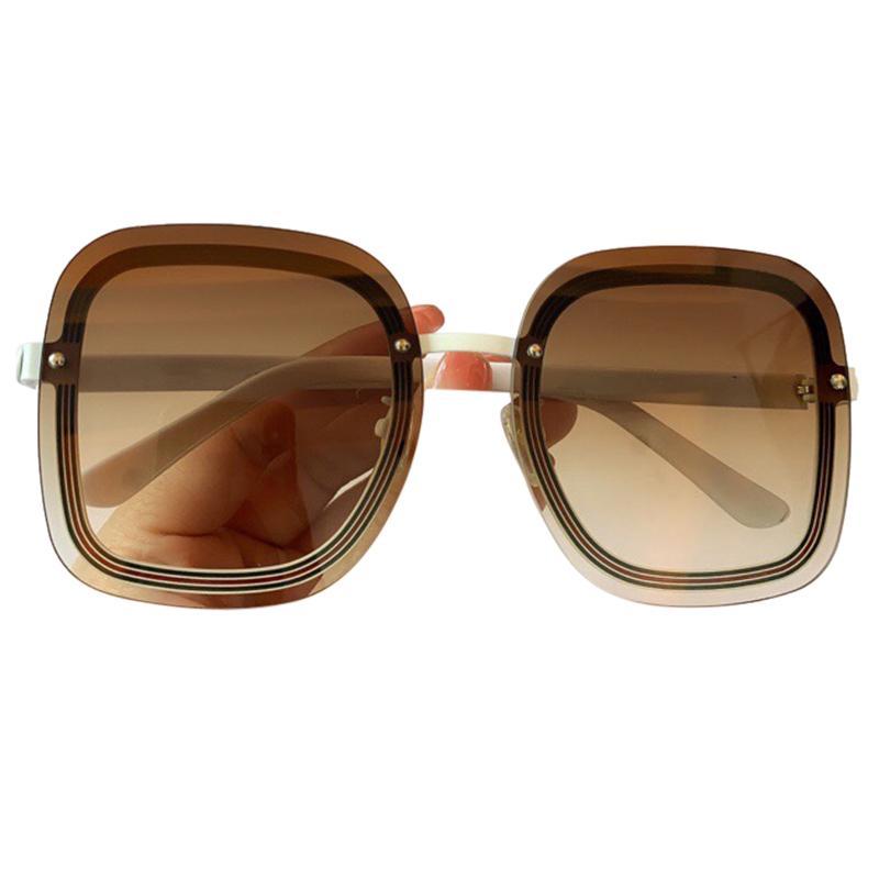 Plaza Vintage Gafas de sol Diseñador Top Gran Top Femenino Flat Rimless Sun Hombres Grandes Lujos de Lujo Gafas Sombras VFKMP