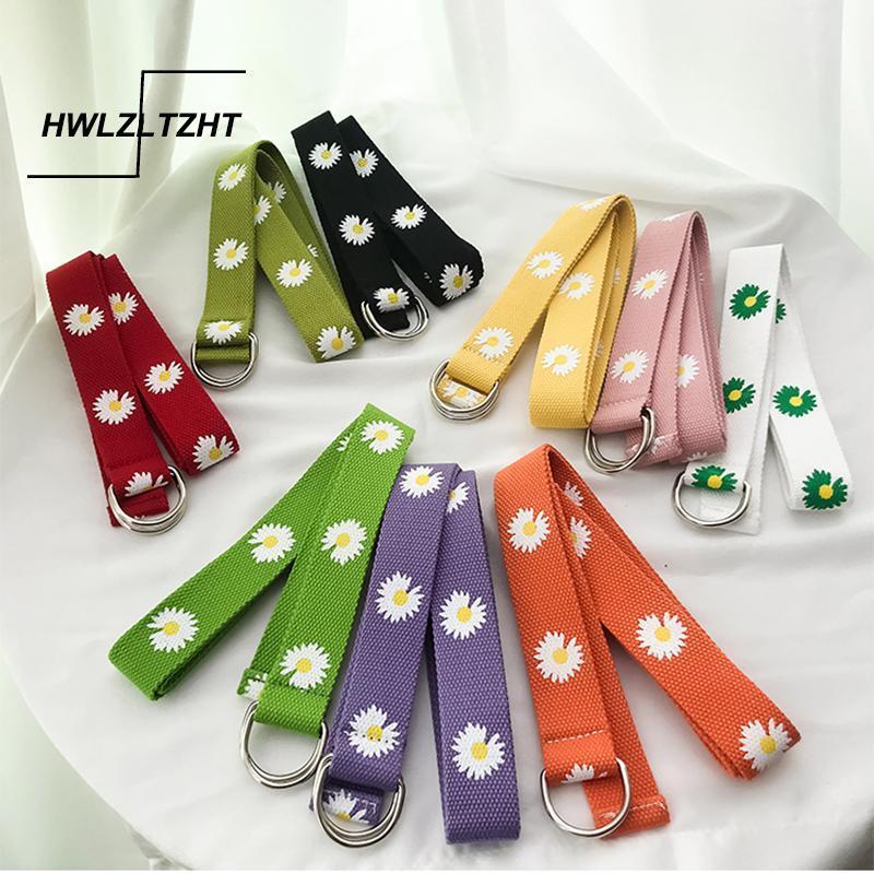 HWLZLTZHT japonesa Harajuku correas de las mujeres del color del caramelo Imprimir cintura ajustable Cinturón simple color sólido cinturón de moda femenina