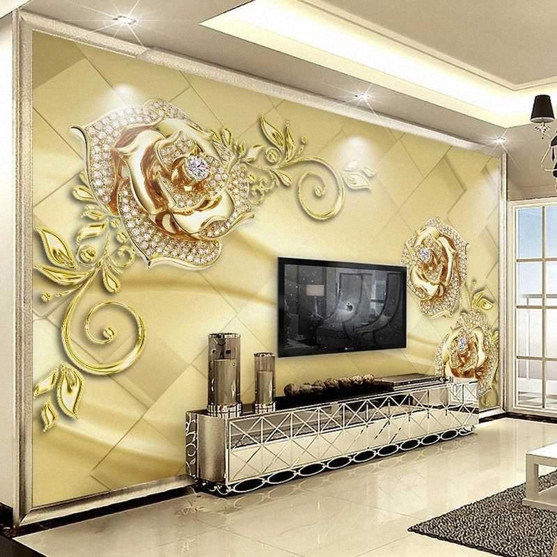 Gioielli 3D stereoscopico Golden Flower personalizzato soggiorno tv Sfondo per pareti panno di seta impermeabile della carta murale KaJv #