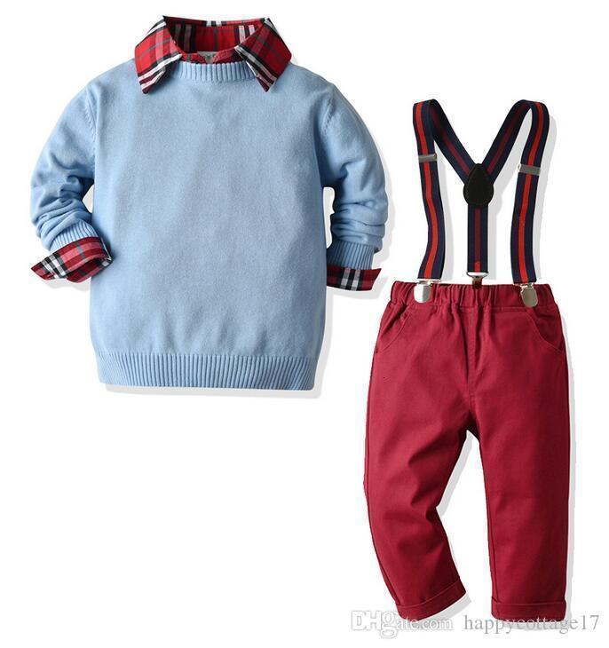 Herbst Winter Jungen und Anzug europäischen und neuen amerikanischen Gentleman Rundhals Langarm Pullover Band elastisch t