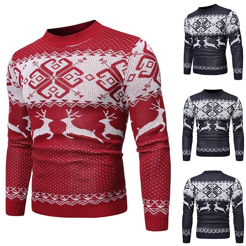 O-collo Maglione fatto a maglia Cappotti Knitwears Autunno Inverno calda lana Maglioni Uomini Elk Natale Pullover Maglione Uomini Nizza casuale