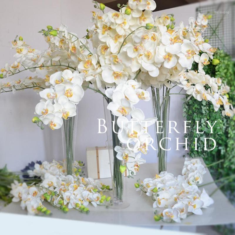 9 Bianco Artificiale Phalaenopsis Flower Decorativo Real Touch Butterfly Orchid Flower Flower Lattice Orchids per la decorazione domestica Matrimonio H1