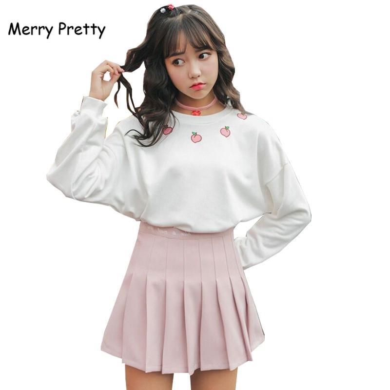 Merry bonitas mujeres Harajuku de 2 pedazos de algodón dulce camiseta de melocotón blanco bordado sudaderas y pantalones de mezclilla fresa conjuntos 200928