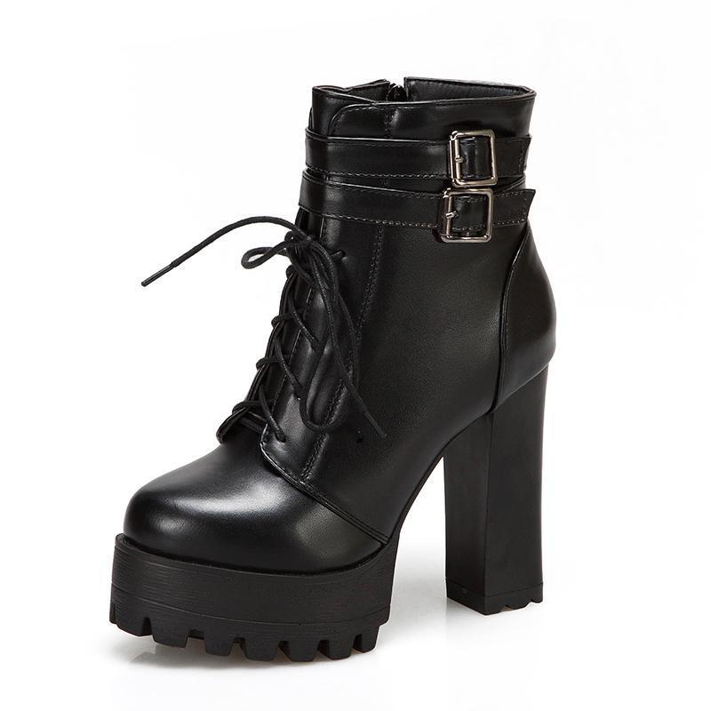 Boots Lucyever 2021 Осень Зимние Женщины PU Кожа Супер Высокие каблуки Кружева Пряжка Платформа Платформа Мода Мода Дама Обувь