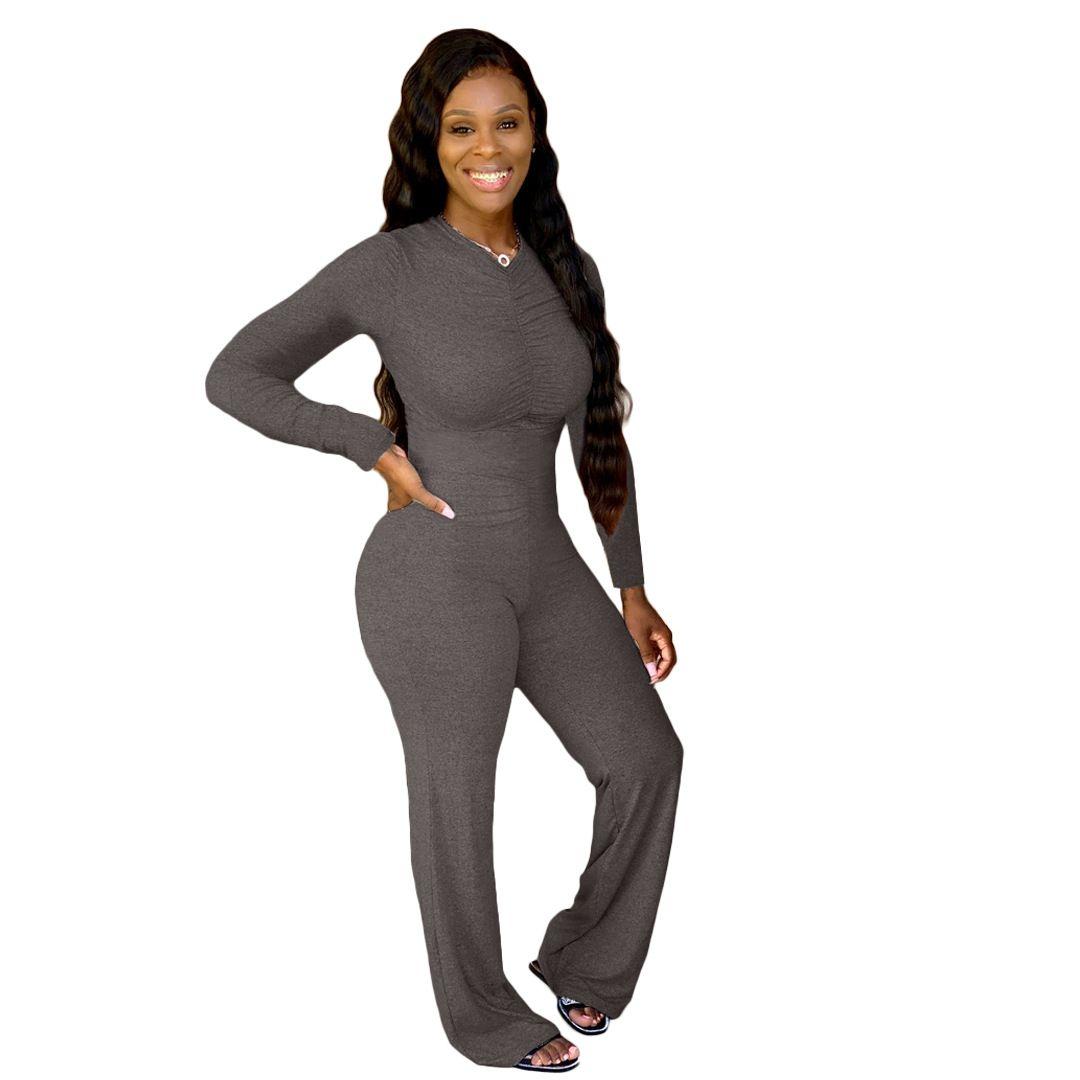 Женщины складывается сплошной цветной комбинезон O-образным вырезом с длинным рукавом Rompers дамы широкие брюки ноги комбинезон