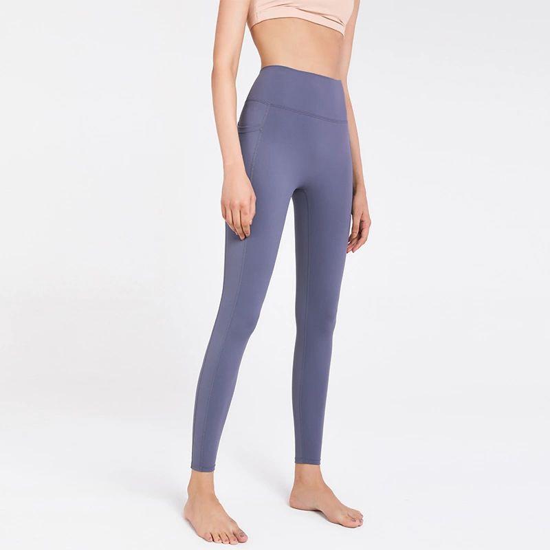طماق الملابس الفتيات النساء اليوغا السراويل اللياقة الرياضية جيوب الجانب على الوجهين الرملي عارية نحيل اقتصاص أسود