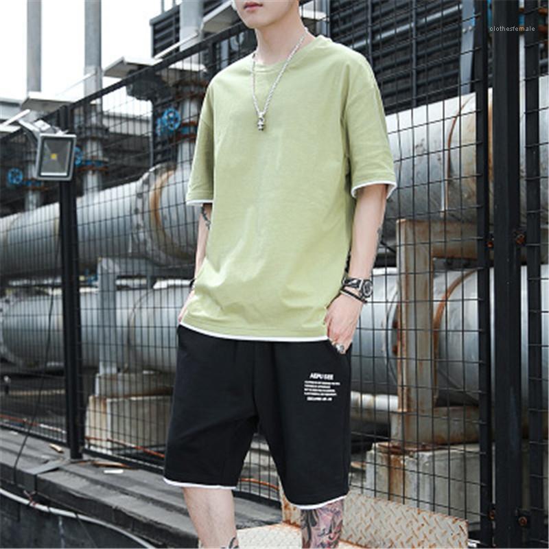 С коротким рукавом свитера футболки моды корейской версии Тонкий круглый шеи тройники дизайнер Мужчины Повседневная Thin Спорт Tops Tshirts Одежда Человек