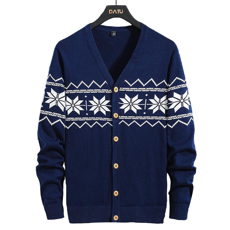Suéter dos homens O casual All-algodão Floco de neve Moda versátil camisola M-3XL para outono / inverno 2021 Cardigan botão para baixo jaqueta