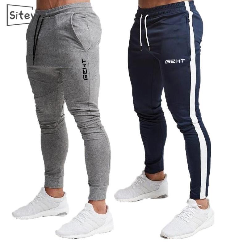 SitesiWeie Erkek Pamuk Joggers Spor Koşu Pantolon Fitness Erkekler Spor Eşofman Dipleri Sıska Sweatpants Spor Salonları Pantolon L247 201109