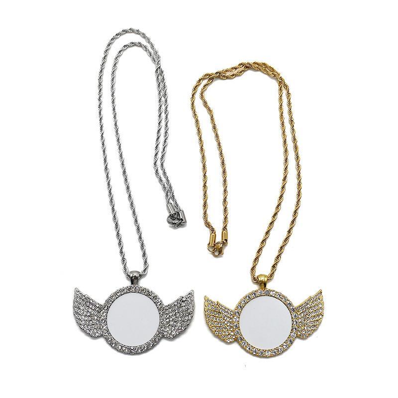 Sublimation Angel Wings Collier Bijoux Diamant Transfert de chaleur Imprimerie de bricolage Pendentif bricolage avec une feuille d'aluminium vierge LIA301