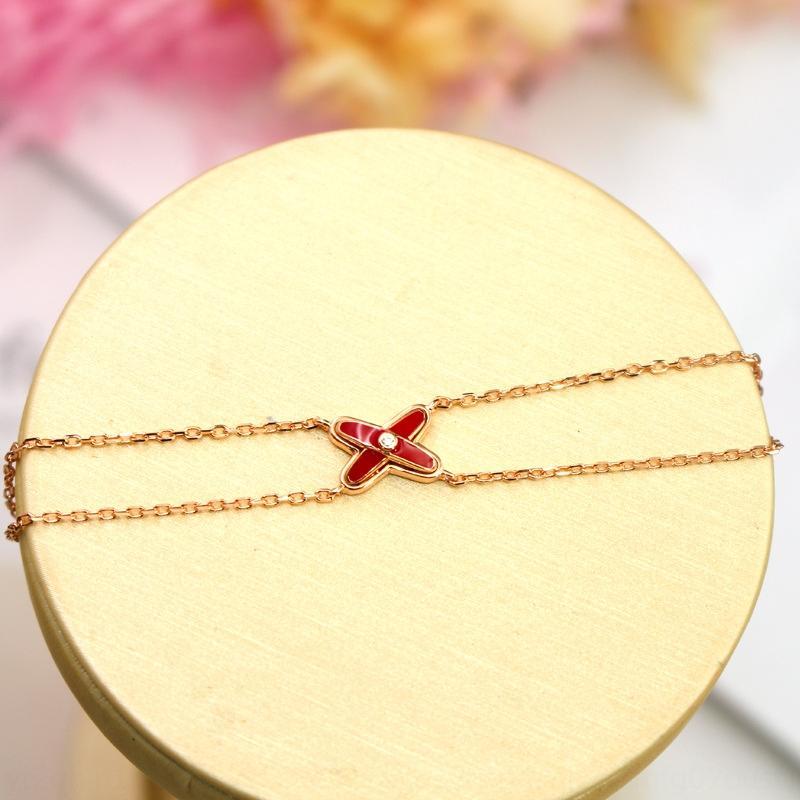 Mode nouvelle marque Chine rouge or mode simple bracelet noeud plaqué Bracelet croix femmes S925 Shriy