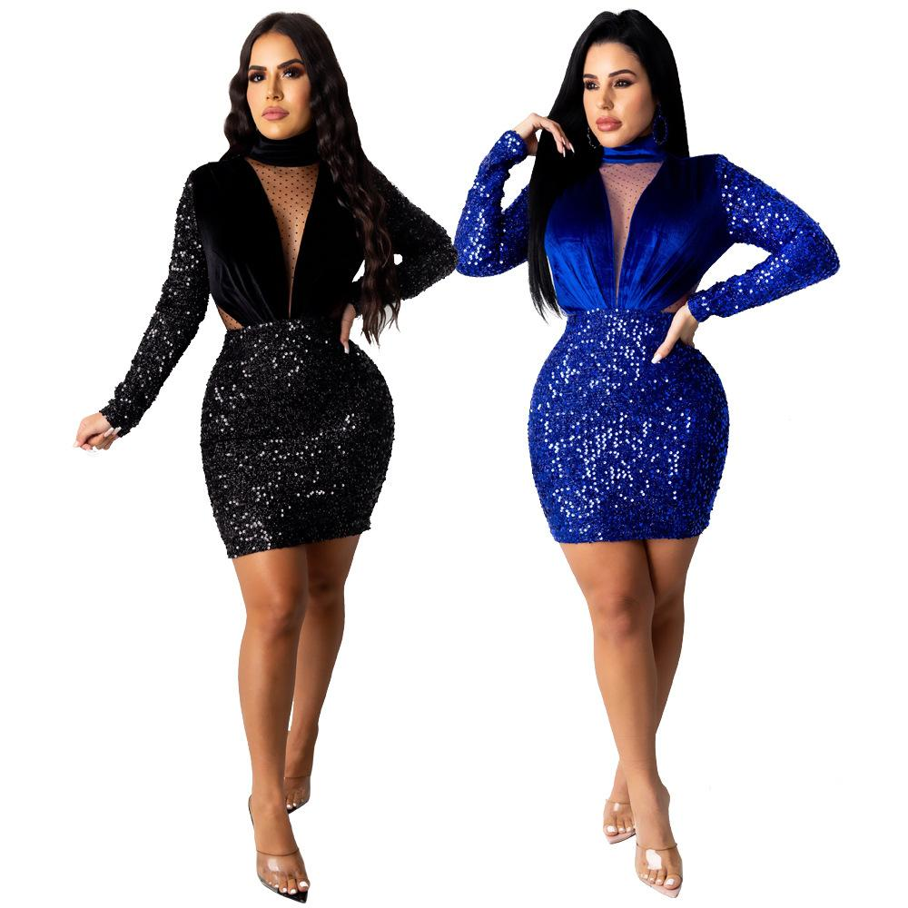 Robe sexy hiver femmes et Velour Paillettes Robes col V Mode stand Sheer Bas Robe 2020