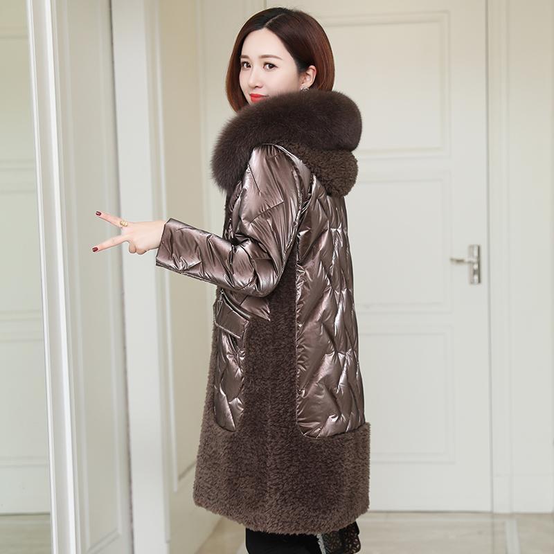 Kobiety Fur Faux Owce Prawdziwe Kobiece Long Vintage Shearing Duck Jacket Kobiety Odzież 2021 Koreański Z Kapturem W dół Coat 919273