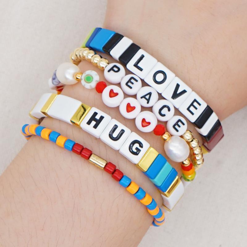 Shinus Love Letter Beads Jewelry Эмаль плитка Браслет для женщин богемского способа Real Pearls сердца браслеты оптом