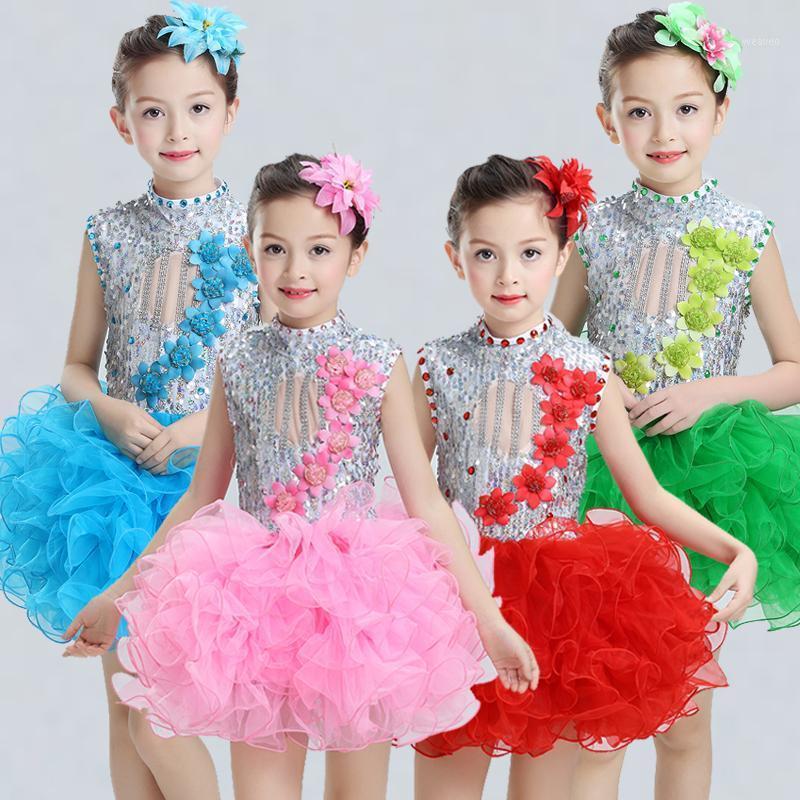 Stage Wear Modern Kids Dance Costumes For Sequins Tutu Dress Girls Salsa Dancing Dancewear1