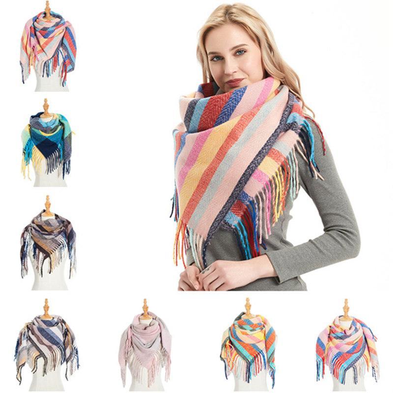 40Colors Women Plaid Scarves with Tassel Wrap Stripe Shawl Winter Squared Neckerchief Grid Scarf Female Warm Tippet Lattice Blanket Scarves