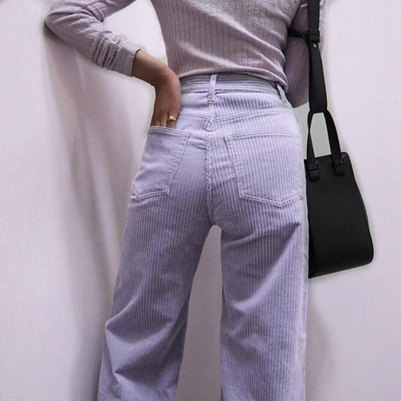 Mode Pantalons simple rétro femme Violet taille haute Jeans Slim Lady Harajuku droite Streetwear hiver Jeans longues
