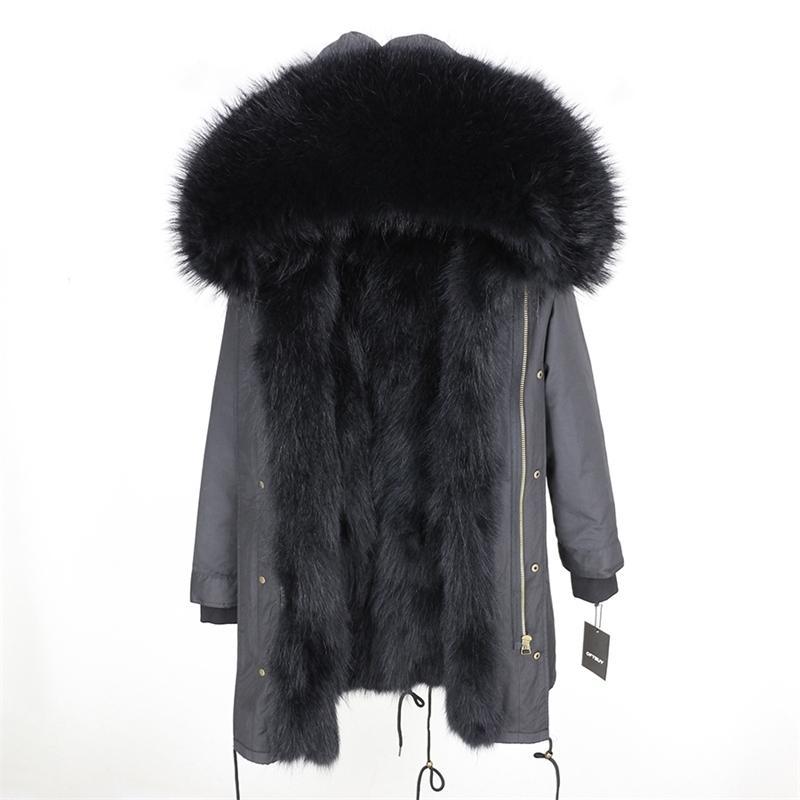 Casaco de pele real jaqueta de inverno mulheres longa parka impermeável grande grande guaxinim colarinho de pele de gola grossa grossa quente raposa raposa forro 201112