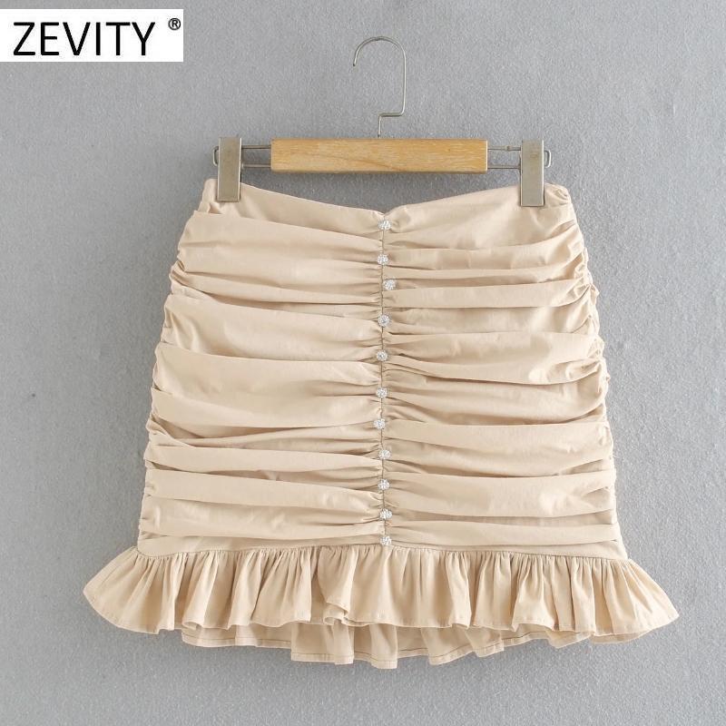 Zevity Mulheres botão diamante cor sólida saia plissada magro Faldas mujer senhora volta zipper vestidos chiques hem babados saias QUN666 C1111