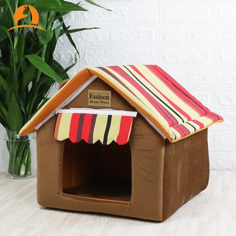 Yichong Мягкий Крытый домашний Дом для собак Съемный чехол Коврик Дома для собак Домонные кровати для маленьких средних собак Кошки щенок питомца питомца YH213