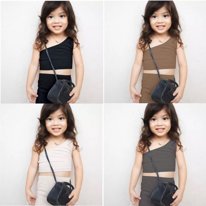 Ins Küçük Kızlar Setleri Yaz Avrupa ve Amerikan Moda Şort Ile Tek Omuz Yelek 2 Adet Suits Çocuk Kıyafetleri 1-4 T