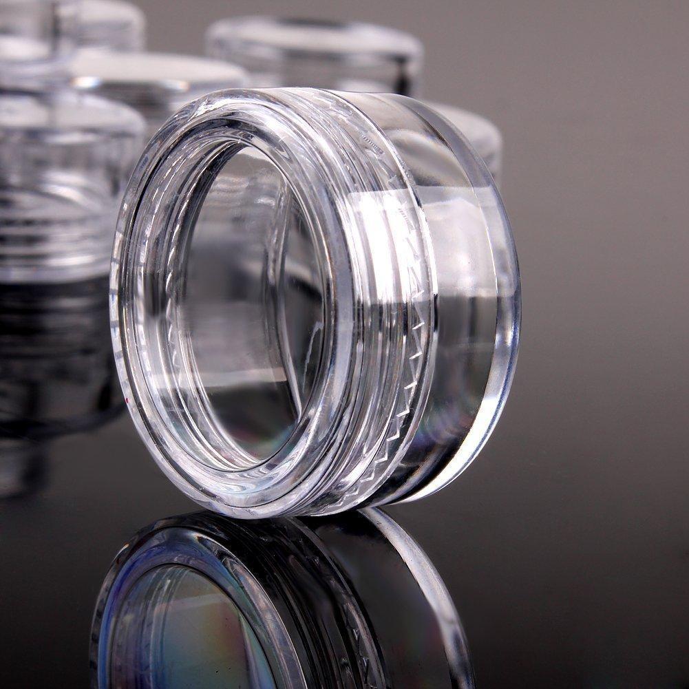 5шт 10г / 15г / 20г Пустые пластиковые Косметические макияжа Jar Горшки с плоской резьбой, крышка Eyeshadow крем бальзам для губ Контейнер Box