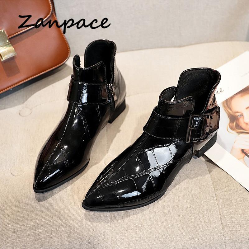 Zanpace 2020 ريترو جلدية أحذية للنساء الربيع منخفضة الكعب لامعة أشار تو المرأة أحذية الكاحل Zapatos دي موهير