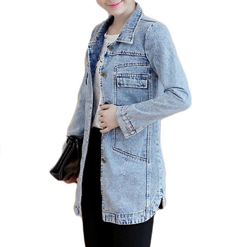 Женские куртки 2021 осень зима джинсовая куртка женская тонкая длинная базовая пальто повседневные джинсы пальто верхняя одежда плюс размер S-5XL R449