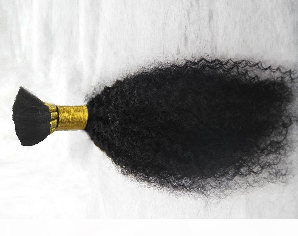 Чистый цвет бразильцы извращенные вьющиеся волосы навалом 100% человеческие волосы для плетения 6А необработанные пакеты волос 10-30 дюймов