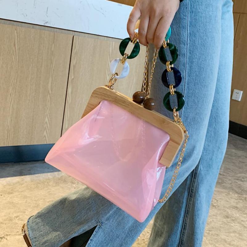 Сумки на плечо прозрачные желе сумка сумка 2021 летнее высокое качество ПВХ женская дизайнерская сумка для путешествий цепь мессенджера