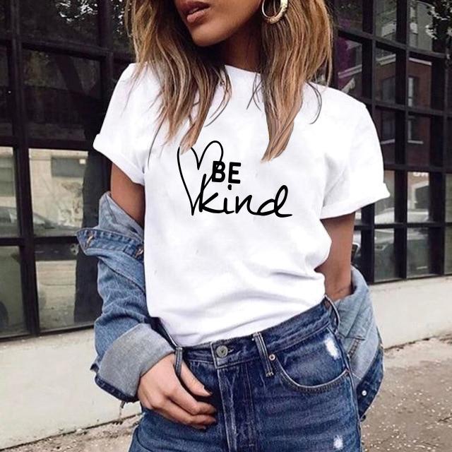 T-shirt allentata della maglietta allentata della manica corta della cima della maglietta della lettere del collo di cotone