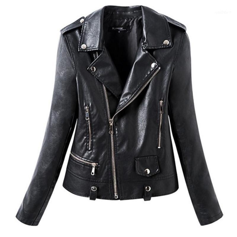 Sonbahar Kış Faux Deri Ceket Kadınlar Casual Temel Ceket Kaban Motosiklet Bayan Kadın Moda Fermuar Sokak Siyah Renk1