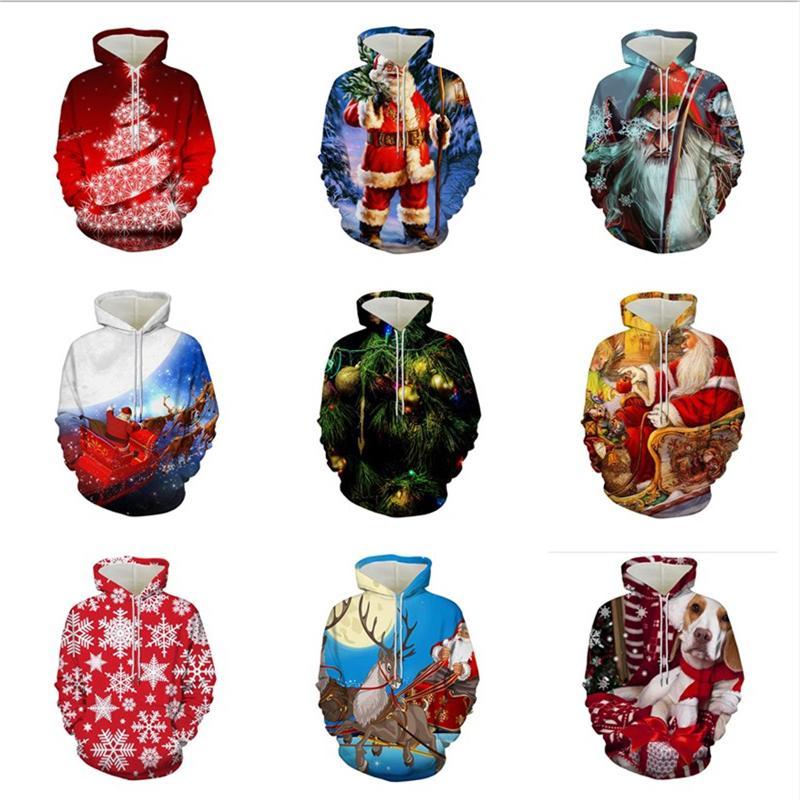 Natal Impressão Digital 3D Casal camisola com capuz bolso camisola inverno e outono Homens Mulheres Tamanho Grande Hoodie