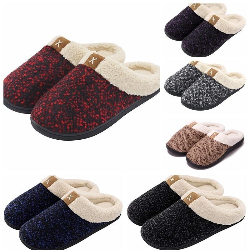 Nova Mulher Inverno Quente Início SlipperCotton macio Plush Chinelo Mulher interior Shoes