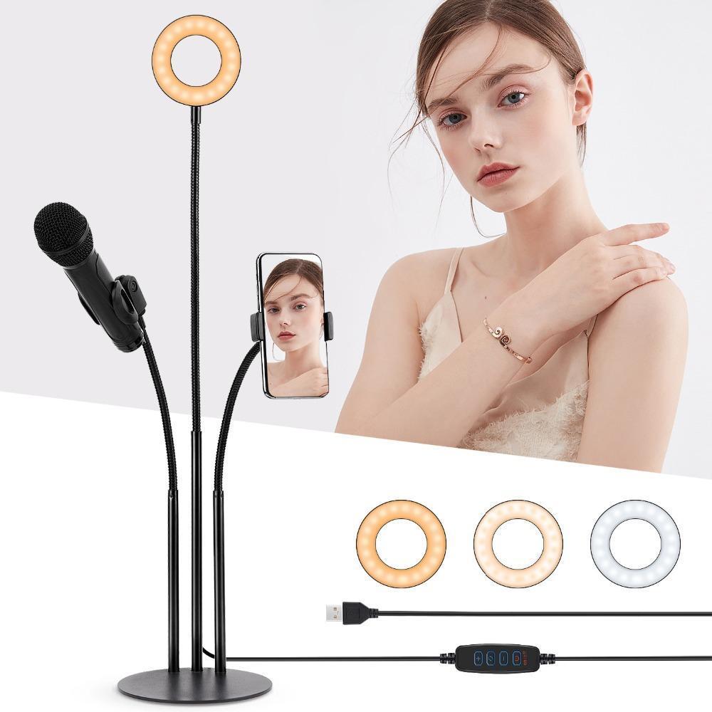 3 en 1 Diffusion en direct Stand avec 3 types de lumière LED selfie anneau téléphone Holder microphone pour Live Stream Vidéo