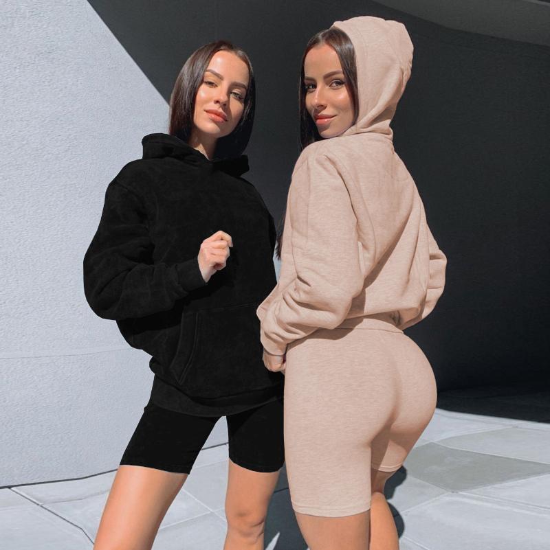 Insieme a due pezzi Donne Biker Shorts Felpe con cappuccio Felpa set jogging vestito 2pcs Outfits signore copre tuta del vestito di sudore