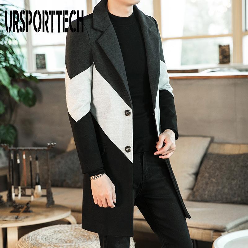Herren Wollmischungen 2021 Herbst Winter Trench Mantel Männliche Knopf Langarm Fitness Kleidung Mode Warme Streetwear Männer Plus Größe 3XL