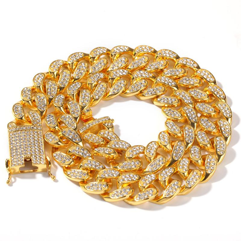 Cadenas de hielo para hombres con Rhinestone y Mujeres Diseñador Collar de oro para hombre Hombre Hip Hop Bling Cadenas Joyas Hombres Enlace Cubano Acero inoxidable
