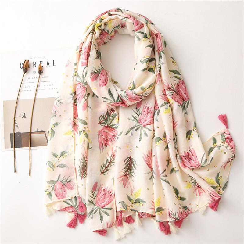 KYQIAO foulard ethnique femmes printemps automne Espagne de style hippie foulards imprimé floral à long bohème romantique Y201007