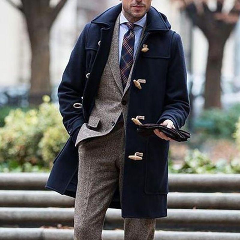 2020 Neue europäische und amerikanische Außenhandel grenzüberschreitende Herrenmode-Mode-Tragen Sie mitten langen Revers-Mantelmantel